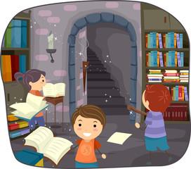 Stickman Kids Alchemy Magic Library