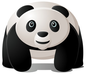 Panda walking, in full color vector image