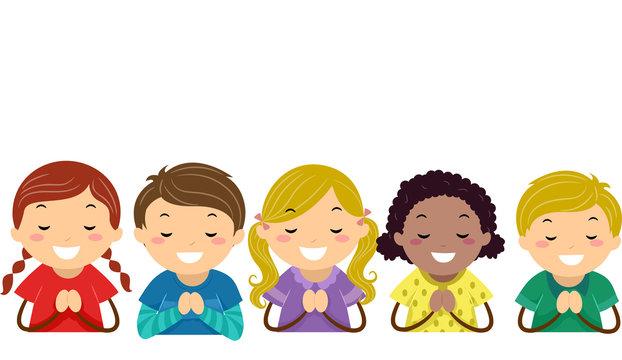 Stickman Kids Praying