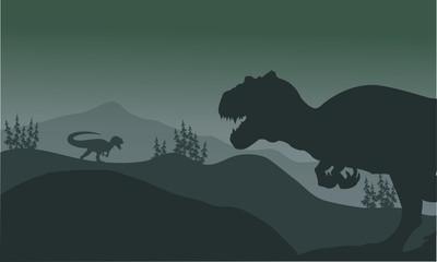 Allosaurus at the night silhouette