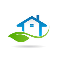 Eco friendly house logo. Vector graphic design