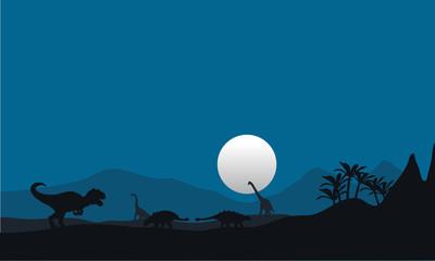 At night silhouette dinosaur