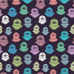 Retro diving helmets seamless pattern
