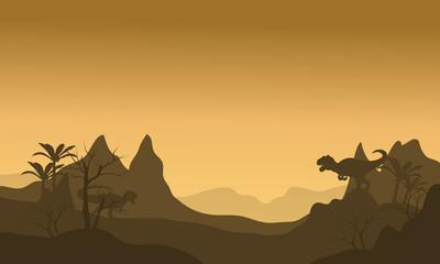 Silhouette of Allosaurus at morning