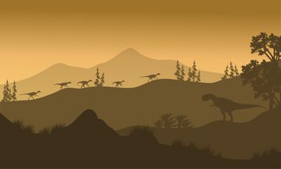 Silhouette of Eoraptor and Allosaurus