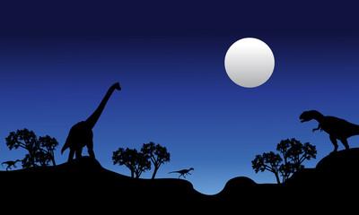 Beautiful scenery at night dinosaur