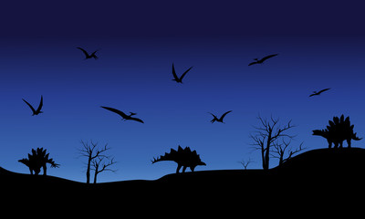 Silhouette of Pterodactyl and Stegosaurus