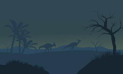 Parasaurolophus in fields scnery silhouette