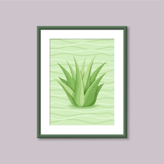 Art painting with succulent in frame on gray background. Template design for web and mobile. Vector vintage illustration concept