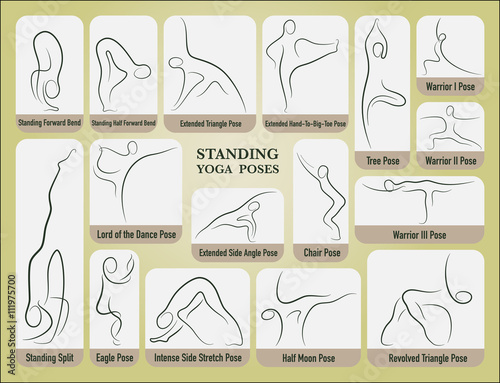 Yoga Stand Poses Set In Gesture Drawing Line With Posture Name