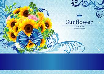 綺麗な向日葵の高級感ある背景