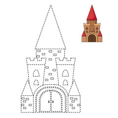 Illustration of educational game for kids and coloring book-cast