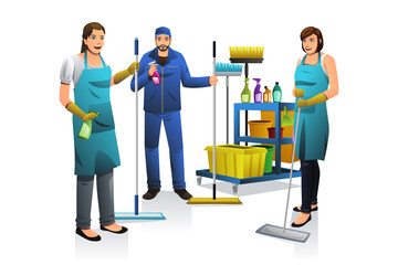 Cleaner People with Janitor Cart
