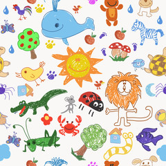 Childrens drawing doodle animals trees and sun seamless pattern.