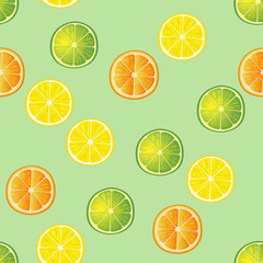 Lime, lemon and orange slices pattern