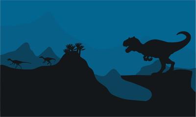 Silhouette of Big Allosaurus