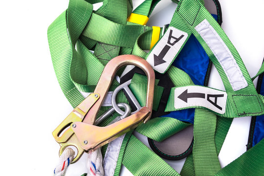 Closeup fall protection harness and lanyard for work at heights