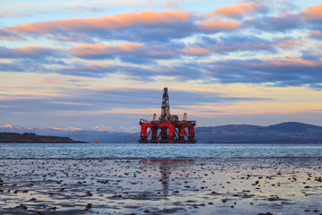 Semi Submersible Oil Rig at Cromarty Firth during Sunset Time in Invergordon