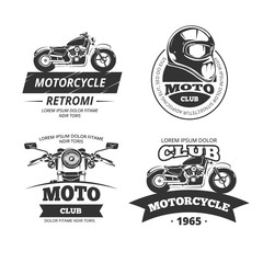 Retro motor club logos. Motorcycle or biker club vintage labels. Motorbike and speed motocycle emblems vector set