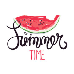 Funny summer hand drawing calligraphy/ Vector illustration with slices of watermelon