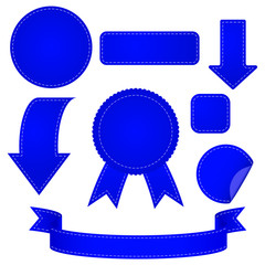 Set of tags, arrows, banners. Set of blue signs