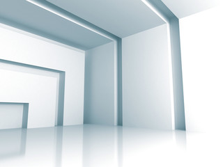 White Modern Interior Empty Room Background