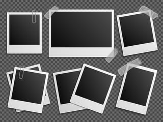 Retro photo vector set. Polaroid frames for family album. Empty vintage photography card sets, vector illustration