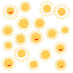 Sun smile symbols or sun face signs. Vector illustration