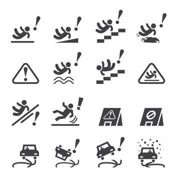 slippery icons set