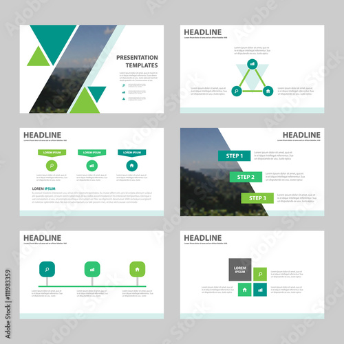 green abstract triangle presentation templates, infographic, Presentation templates