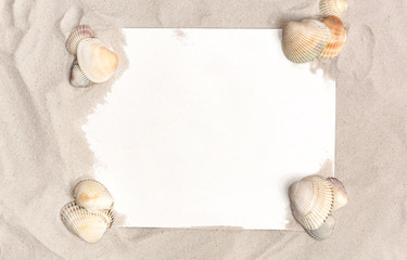 Frame of sand and seashells