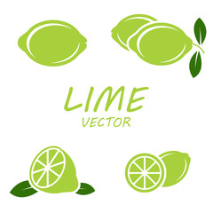Vector flat lime icons set