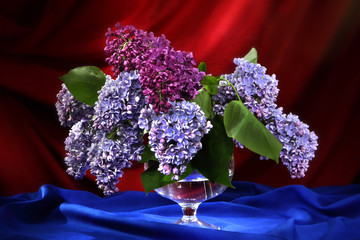 Still-life with bouquet of lilac in decorative vase
