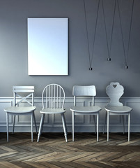 mock up poster frame in hipster interior with white chairs. . 3d rendering