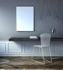 mock up poster frame in a modern grey interior. 3d rendering