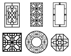 Set of Chinese window with pattern, vector