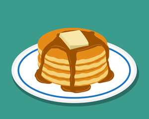 Pan cake in flat style, isolated vector