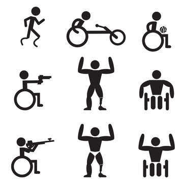 Disable Handicap Sport icons, runner, bodybuilding, shooting, ru