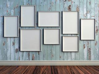 mock up poster frame in rustic interior background. picture frame composition concept. 3D rendering illustration. interior