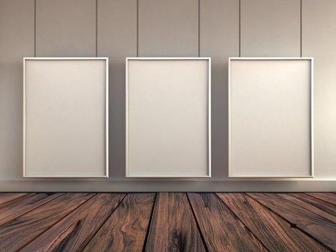 mock up poster frame in interior background, 3D rendering illustration