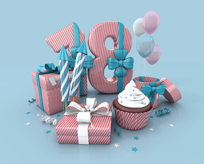 Number Eighteen, 18, Decorated With Ribbon, Birthday Cupcake, Rockets, and Wrap Gifts. Birthday Concept Invitation. 3d render Illustration Isolated On Blue Background