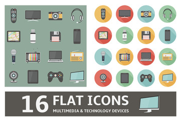 16 flat icons multimedia & technology devices