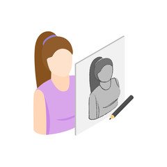 Drawing female portrait icon, isometric 3d style