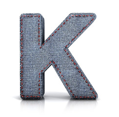 K letter, from Font of denim (jeans) fabric. 3d illustration isolated on white.