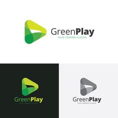 Green play logo. vector logo abstract play button