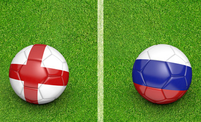 Team balls for England vs Russia football tournament match, 3D rendering