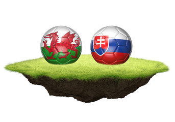 Wales and Slovakia team balls for football championship tournament, 3D rendering
