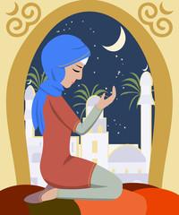 girl praying at ramadan