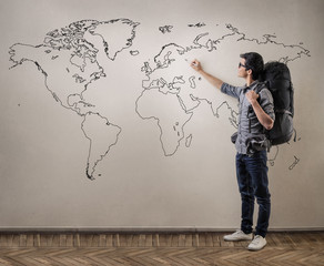 Young man travelling around the world