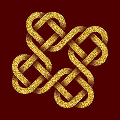 Golden glittering logo template in Celtic knots style on dark red background. Tribal symbol in cruciform with hearts maze form. Gold ornament for jewelry design.